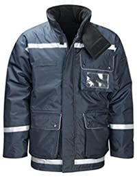 New Kraft Mens 3/4 Length Freezer Jacket Coat Cold EN432 Warm Thermal Wadding Reflective Tape Jacket 300GSM Navy