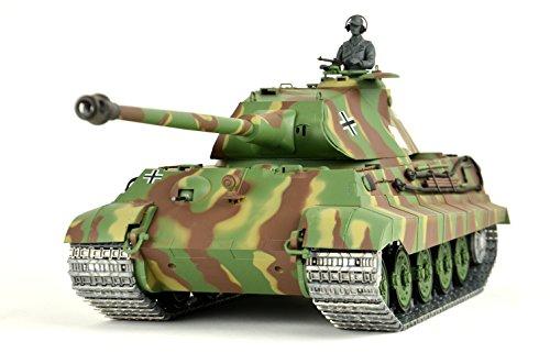 ES-TOYS RC Panzer Deutscher Königstiger 1:16 Heng Long mit Rauch&Sound, Metallgetriebe,Metallketten und 2,4Ghz Funke PRO Edition (Panzer Heng Rc Long)