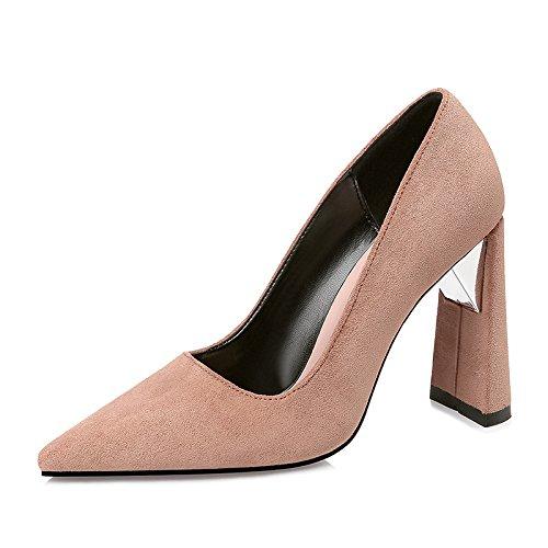 FLYRCX Tacco alto scarpe di sharp e sexy e camoscio in autunno e inverno C