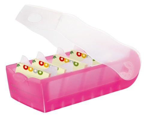 HAN Lernkarteibox CROCO 997-663, DIN A7 quer in Transluzent/Pink / Karteikasten für regelmäßiges Vokabeln lernen dank 5-Fächer-Lernsystem / Idealer Schulbedarf