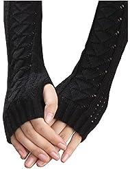 Oyedens guantes, Invierno Otoño caliente ahuecan hacia fuera los guantes del dedo del teclado de fugas guantes tejidos (Negro)