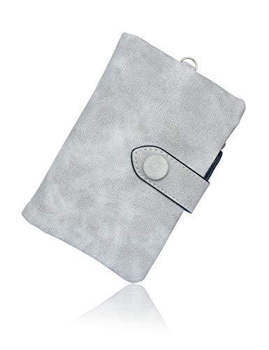 Kleine Snap Wallet (conisy Geldbörse Damen Süß Leder Portemonnaie Frauen Kurzer Absatz Große Kapazität Mädchen Geldbeutel (Grau))