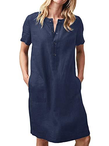 Tomwell Leinenkleid Damen Sommerkleid Leinen Kleider V-Ausschnitt Kurzarm Strandkleider Einfarbig A-Linie Kleid mit Tasche Blau DE 46