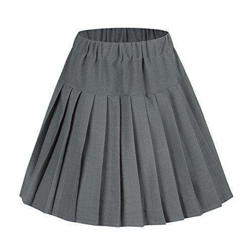 Damen Schulmädchen-Stil Skater Röcke Faltenrock Schuluniform (XL, Grau Solide)