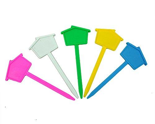 12 marqueurs house-shaped Nursery Étiquettes de jardin en plastique réutilisables Étiquettes
