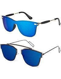 9097f1765c3 TheWhoop Stylish New Combo UniBody Lens Design Mirror Goggles Wayfarer  Sunglasses For Men