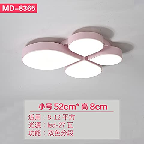 BRFVCS ceiling light Les chambres du ventilateur de plafond moderne minimaliste lumière créative led quatre feuilles chambre enfants filles lumière intérieure nordique d'appareils d'éclairage, les petits 52cm encre 2 couleurs Hwy 27w segment