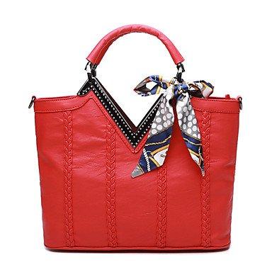 Le donne con Cinturino Pelle di montone tutte le stagioni Casual Baguette Zipper Grigio Rosso nero,rosso Gray