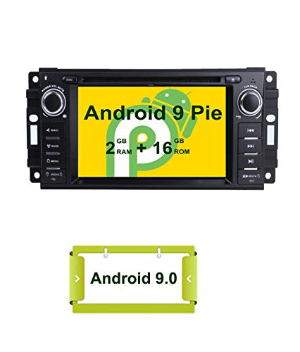 Smartnavi Android 9.0 Autoradio GPS-DVD-Player für Jeep Dodge Chrysler, Kopfeinheit 6,2 cm (6,2 Zoll) Touchscreen, Indash Radio Empfänger mit Navigation Bluetooth/3G/Mirror Link Dodge Car Stereo