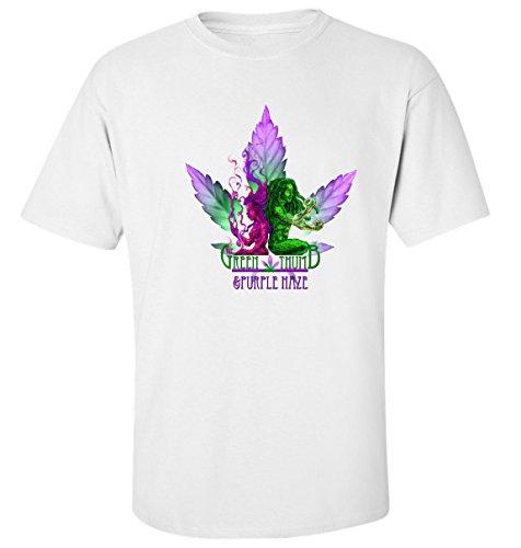 Green thumb purple haze dope weed cannabis art slogan t-shirt homme blanc coton (XL)