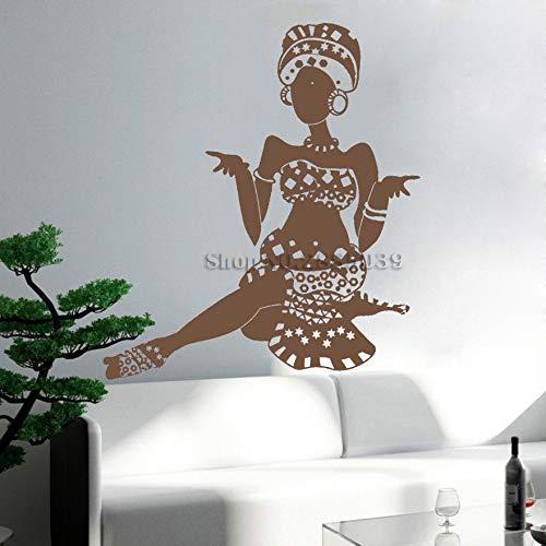 zhuziji Heißer Frau Vinyl Wandtattoo Ethnischen Stil Mädchen Kunst Wandaufkleber Room Home Decor Abnehmbare Einzigartige Geschenk 888-5 56 cm x 69 cm