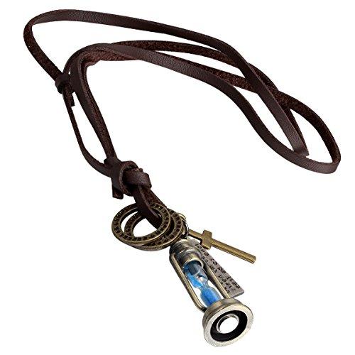 cupimatch Retro Legierung Bronze Kreuz Hund Tag Sanduhren Magic Lampe Charm Anhänger verstellbar Leder Schnur Seil Halskette Geschenk für Männer Frauen