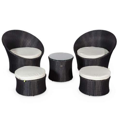 Salon de Jardin encastrable et empilable en résine tressée - Capasanta - Noir, Coussins écrus - 4 Places - Une Petite Table Ronde et 4 assises