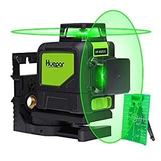 Self-Leveling Green Laser Level - Huepar 902CG Green Beam Cross Line Laser 360° Coverage Horizontal and Vertical Line Coming with Magnetic Pivoting Base, Pulse Modes Allow Use with Laser Target