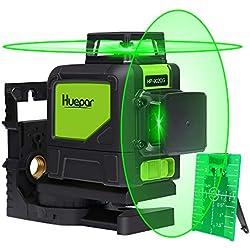 Huepar 902CG 2 x 360 Niveau Laser Croix Vert, Ligne Laser Auto-nivellement Commutable Laser Lignes de 360 degrés avec Mode Pulsé Extérieur, Distance de Travail 25m, Support Magnétique Incluse