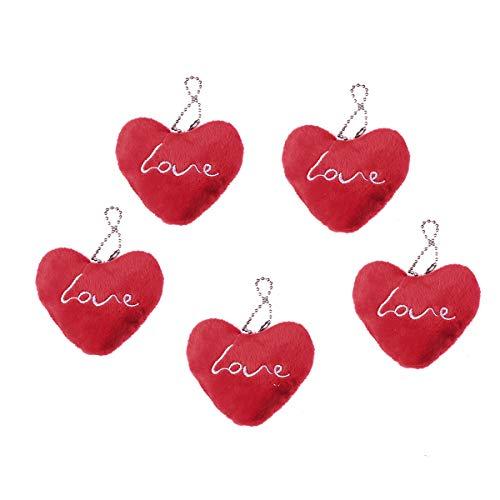 BESTOYARD Tasche Anhänger Plüsch Herzform Taschen Charms niedlichen Plüsch Herz Schlüsselanhänger 5 Stück (rot)