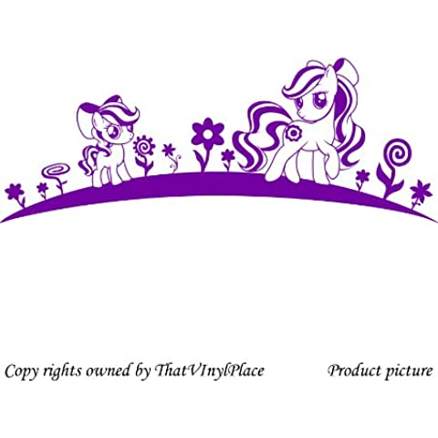 2 Pegatinas de My Little Pony, 60 cm x 23 cm Color de flores Purpple, dormitorio, caballo, la habitación de los niños pegatinas, vinilo del coche, las ventanas y pared, pared ventanas arte, etiquetas, adorno adhesivo de vinilo