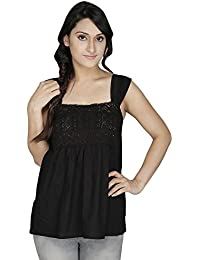 2 OF US Casual Sleevless Solid Women Black Lace Top(AGBLACK_BLACK_L)