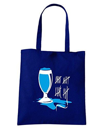 T-Shirtshock - Borsa Shopping BEER0255 Linee-bicchiere-di-birra--Magliette Blu Navy