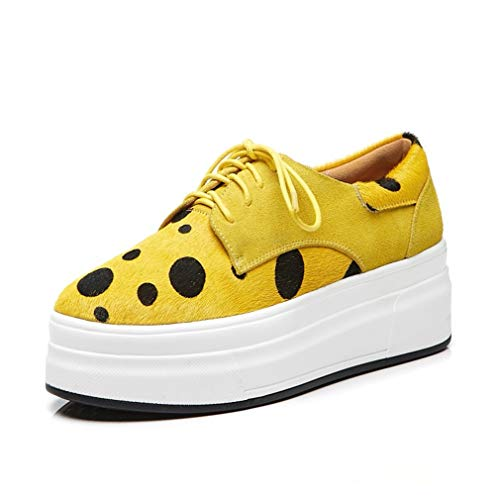 Women Platform Loafers Comfort Ladies Moccasins Lace Up Wedges Slip On Suede Wide Work Shoes Walking Shoes Yellow Pink,Yellow,36