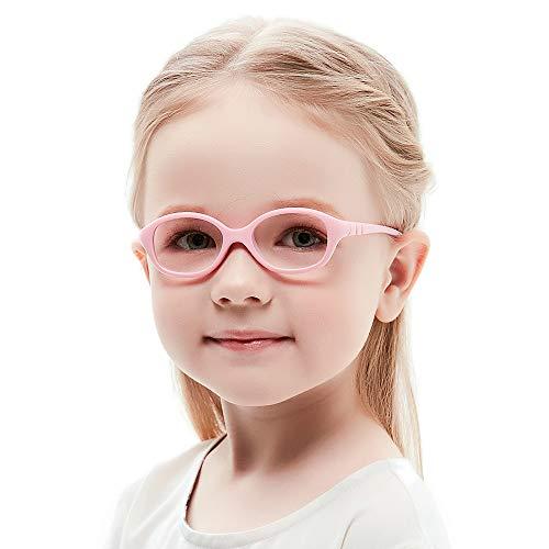 Teenager Kostüm Beliebte - Unzerbrechlich biegsam Kinder Kids Brille Teenager Gestell Rahmen Fassung grau und rosa Gläser klar, oval schick für Mädchen (Alter2-5 Jahre) (WK12 C8 Pink)