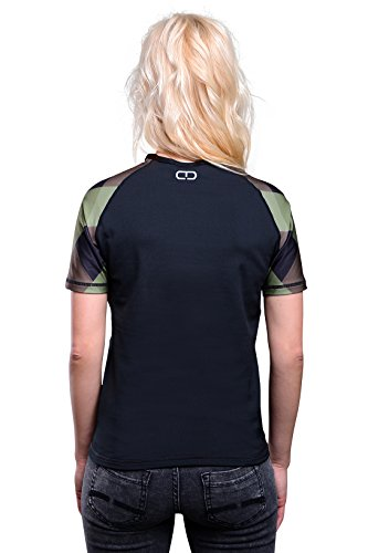 Action sPORT dANY t-shirt de fitness coupe slim pour femme style rétro Noir - Karo Green Brown