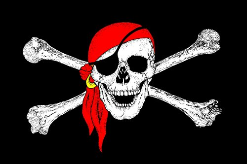 e Flagge Pirat 150 x 90 cm Satin Doppelte Nähte (Piraten Flagge)