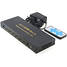 Incutex 4K HDMI Switch 4x2 x 2K ULTRA HD 2160P Dolby True HD UHD 3D, HDMI Matrix 4 por 2 incl. adaptador de corriente y mando a distancia