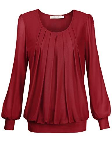 BaiShengGT Damen Langarmshirt Rundhals Falten Shirt Stretch Tunika Rot L