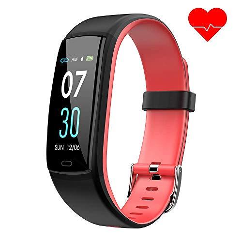 d mit Pulsmesser,Wasserdicht Blutdruckmesser Fitness Tracker Aktivitätstracker Pulsuhren Schrittzähler,Uhr Smartwatch mit Schlafmonitor für iOS Android Handy(Rot) ()