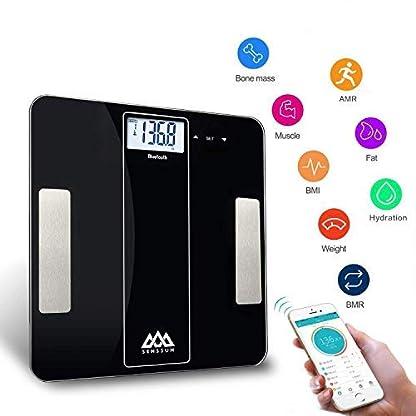 41wux2nSwQL. SS416  - SENSSUN Bluetooth Medidor Inteligente de Masa Corporal, Báscula Digital de Baño, BMI Báscula de Peso, Analizador de composición de Cuerpo con IOS y Android APP(Negro)