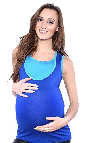 Mija - Un confortable 2 en 1 Chemise sans manches maternité et de soins 4014 Bleu / Turquoise