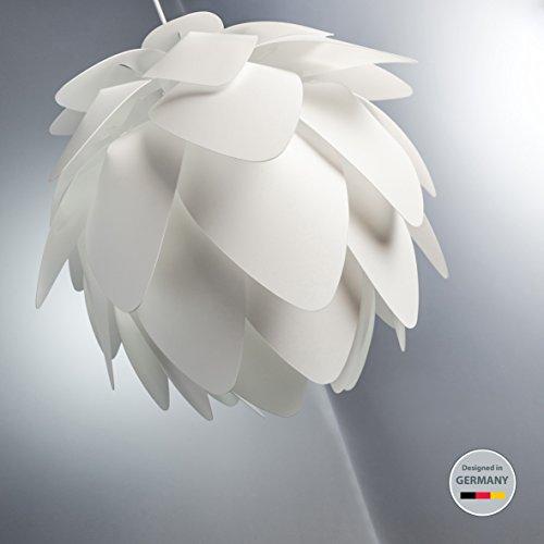 B.K.Licht LED Pendelleuchte   Deckenleuchte schwenkbar   Hängelampe weiß aus Kunststoff   E27 Fassung   Moderne Wohnzimmerlampe • Esstischlampe   EEK A+