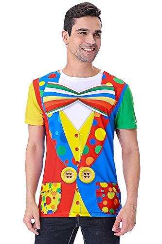 COSAVOROCK Disfraz de Payaso para Hombre Camiseta Estampado (L, Bowtie)