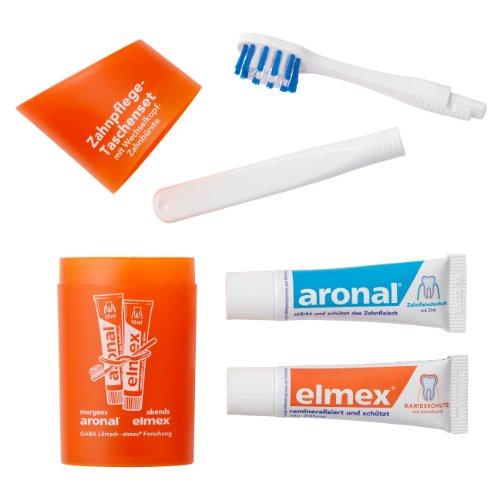 Elmex Lot de 5 poches Kit dentaire (de voyage Brosse à dents et dentifrice) Orange 5 x 1