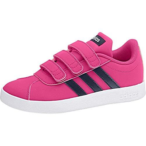 adidas VL Court 2.0 Cmf, Scarpe da Tennis Bambina, Rosa Reamag/Legink/Ftwwht, 33 EU