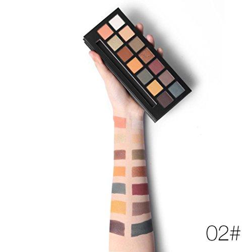 Paleta de polvo BBsmile 14 colores Brillo de perlas Sombra Matt Eyeshadow Cosmetic Maquillaje (#2, Multicolor)