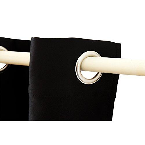 Songmics Gardine Vorhänge 2 Stück Verdunklungsvorhang Verdunklungsgardinen mit Ösen schwarz 145 x 245 cm LRB245H-2 - 5