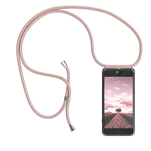 EAZY CASE Handykette kompatibel mit Apple iPhone 7, iPhone 8 Handyhülle mit Umhängeband, Handykordel mit Schutzhülle, Silikonhülle, Hülle mit Band, Stylische Kette mit Hülle für Smartphone, Rosé-Gold