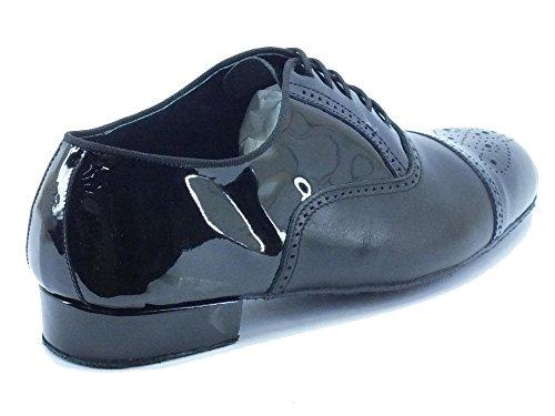 Scarpa da ballo per uomo in nappa e vernice nera con tacco 2cm Nero
