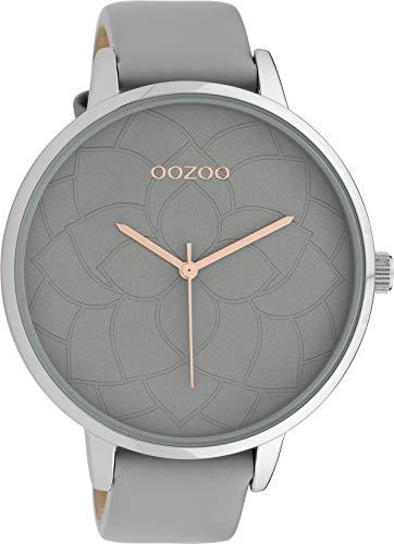 Oozoo Damenuhr mit Blüten Zifferblatt und Lederband 48 MM Grau/Grau C10101