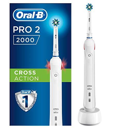 Oral-b pro 2 2000 spazzolino elettrico ricaricabile, manico bianco con caricatore, 1 testina crossaction