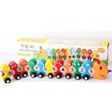 Wooden Number/Digital Train Blocks Set Toys For Kids And Toddlers,Best Educational Set Of Trains With Fun And Colorful 0-9 Number Figures Railway Model Toys For Boys & Girls Christmas Gift