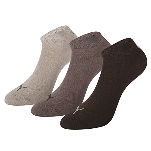 Puma Invisible Sportive Sneaker Sock (3 Pair Pack), Chocolate / Walnut / Safari , UK 12 -14 Sock