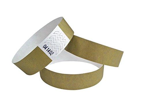 100 Stück Tyvek-Eintrittsbänder - Wristbands - Bracelets boite de nuit - gold