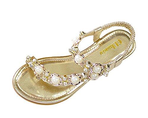 Minetom Damen Sommer pu Leder Bohemian Thong Sandalen Z24 Flip Flops Sandalen Gold EU 41 (Knochen Thong)