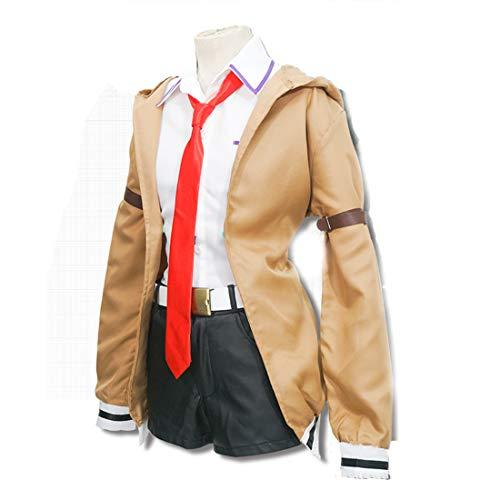 RL Steins Tor Cosplay Kostüm Japanischen Anime Spiel Cosplay Kurisu Machen Uniformen Full Set Mantel Hemd Krawatte Rock,Full Set-M (Halloween-kostüme 2019 Machen Zu Leicht)