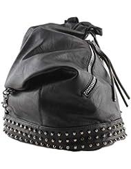 Zaino Donna con Borchie in Pelle pu a sacco nero, zainetto borchiato per ragazza fashion alla moda