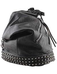 e014c2a1f2 Zaino Donna con Borchie in Pelle pu a sacco nero, zainetto borchiato per  ragazza fashion