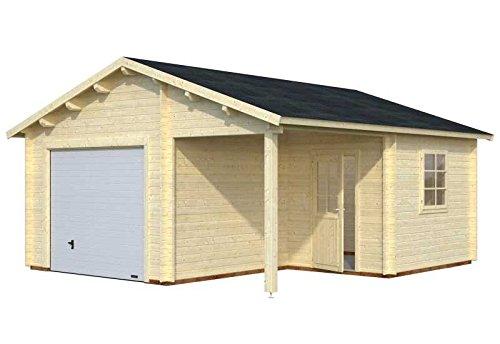 Palmako Blockbohlen-Garage Roger 21,9 44 mm natur mit Sektionaltor